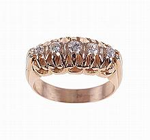 Portuguese yellow and white gold ring set with five ancient cut brilliant diamonds. Hallmarked
