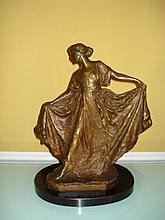 OLD AMERICAN BRONZE SCULPTURE OF WOMAN BESSIE POTR