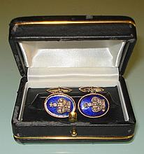 PAIR  RUSSIAN 14K YELLOW GOLD ENAMELED CUFFLINKS