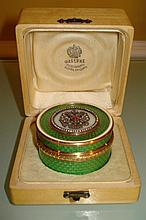 RUSSIAN 14K GUILLOCHE ROUND ENAMELED BOX