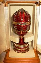 RUSSIAN JEWELED GOLD GUILLOCHE EGG