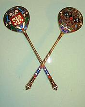 LARGE IMPERIAL RUSSIAN ENAMELED SPOONS PAVEL OVCHV