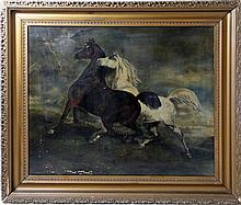 A.J. GARLOCK 1909 HORSES IN FIELD OIL PAINTING