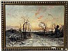 19TH C T.C. BRIANLES OIL PAINTING WINTER SCENE