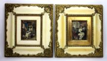 PAIR OF PAINTINGS ON IVORY AND GOLD FRAMES