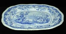ANTIQUE 1830's BLUE & WHITE JONES PORCELAIN TRAY