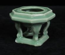 CHINESE 19TH CENTURY GREEN CELADON CENSER
