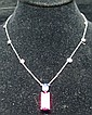 14K WHITE GOLD RUBELITE AND DIAMOND NECKLACE