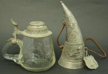 TWO PIECE ANTIQUE PEWTER LOT