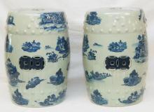 Pr. CHINESE BLUE & WHITE PORCELAIN GARDEN SEATES