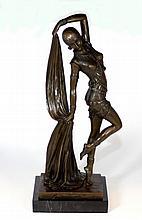 ART DECO AFTER D. H. CHIPARUS BRONZE VAIL DANCER