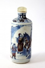 19TH C CHINESE PORCELAIN BLUE& WHITE SNUFF BOT TLE