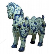 19th CENTURY XUANDE CHINESE BLUE & WHITE HORSE