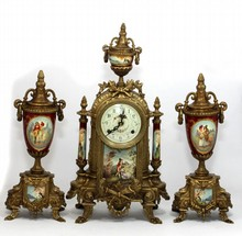 FRANZ HERMLE GILT BRONZE & PORCELAIN GARNITURE SET