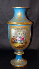 ANTIQUE SEVRES PORCELAIN HAND PAINTED URN