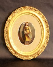RARE KPM HAND PAINTED PORCELAIN OVAL PLAQUE 19th C