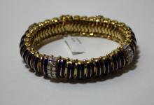 LADIES 14K GOLD BLUE ENAMEL & DIAMOND BRACELET