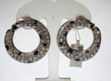 Pr PLATINUM BLUE SAPPHIRE & DIAMOND EARRINGS