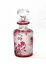 ANTIQUE BACCARAT ROSE COLORED DECANTER