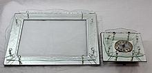 ART DECO GLASS PERFUME TRAY W/ MATCHING CLOCK