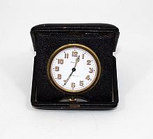 TIFFANY & CO 8  DAY TRAVEL CLOCK IN LEATHER CASE