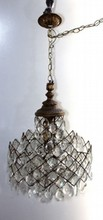 ANTIQUE ORNATE BRONZE AND CRYSTAL CHANDELIER