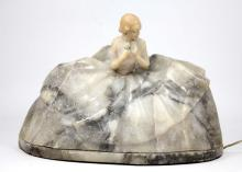 ANTIQUE ALABASTER  FIGURAL LAMP OF LADY IN GOWN
