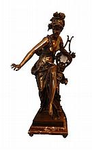 ORIGINAL CARRIER BELLEUSE DORE BRONZE WOMAN w LYRE