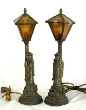 (2) Vintage Oriental white metal lamps