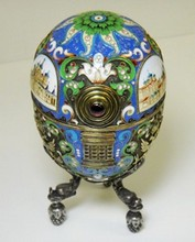 RARE HUGE RUSSIAN IMPERIAL SILVER EGG W/ MINIATURE
