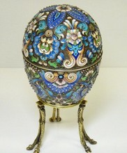 HUGE RUSSIAN IMPERIAL SILVER ENAMEL EGG