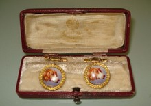 Antique Russian gold enamel pair of cufflinks