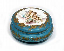 ANTIQUE BLUE PORCELAIN REDON LIMOGES COVERED BOX