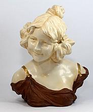 ANTIQUE ART NOUVEAU GERMAN PORCELAIN BUST OF GIRL