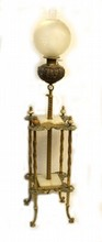 ANTIQUE FRENCH GILT BRONZE & WHITE ONYX LAMP TABLE