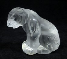 LALIQUE CRYSTAL SITTING BENGAL TIGER FIGURE