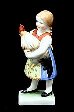 HEREND #5568 FARM GIRL HOLDING ROOSTER