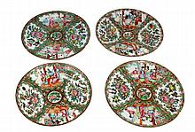 LOT OF 4 CHINESE ROSE FAMILLE  PLATES