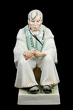 ZSOLNAY PECS PORCELAIN FIGURE OF MAN CARVING WOOD