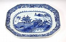 CHINESE PORCELAIN BLUE AND WHITE SERVING TRAY