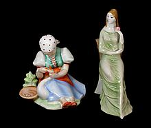 2 ZSOLNAY PORCELAIN HAND PAINTED FIGURINES