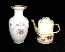 LOT OF 2 PORCELAIN VASE AND TEA POT