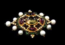 VICTORIA ENAMELED JEWELED PIN
