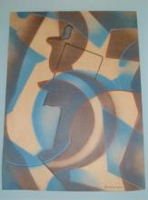 SERGE CHARCHOUNE ABSTRACT WATERCOLOR FRAMED