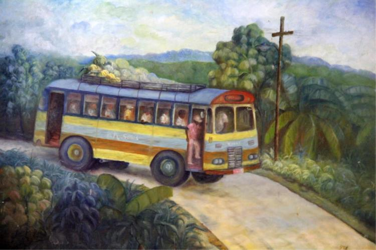 G. MURRAY OIL PAINTING PEOPLE ON BUS