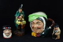 LOT OF 4 ROYAL DOULTON FIGURE & TOBY JUGS