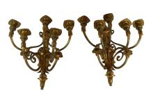 Pr. FRENCH DORE BRONZE ARM WALL SCONCES