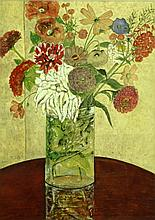 WATER COLOR STILL LIFE FLOWERS IN VASE