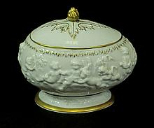 CAPODIMONTE VINTAGE FOOTED BOWL WITH LID