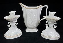 LENOX PITCHER AND PAIR OF CANDLE STICKS
